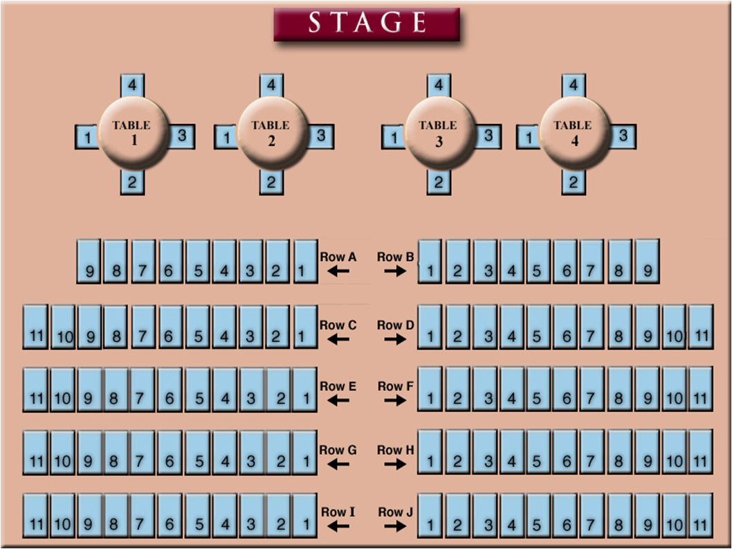 Seating Chart modifed Rows E and F are wheelchair accessible.